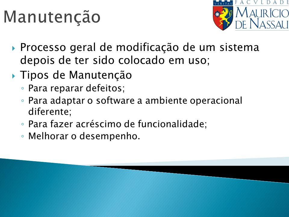 Manutenção Processo geral de modificação de um sistema depois de ter sido colocado em uso; Tipos de Manutenção.