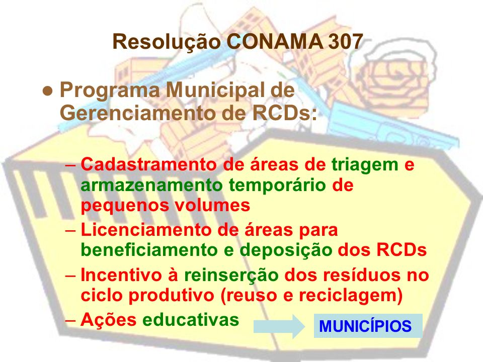 Programa Municipal de Gerenciamento de RCDs: