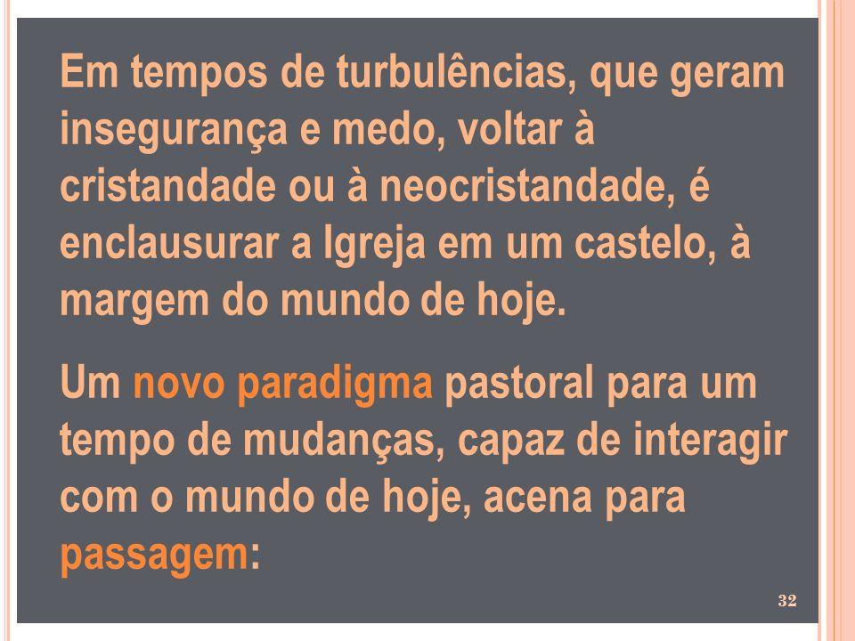 Em tempos de turbulências, que geram insegurança e medo, voltar à cristandade ou à neocristandade, é enclausurar a Igreja em um castelo, à margem do mundo de hoje.