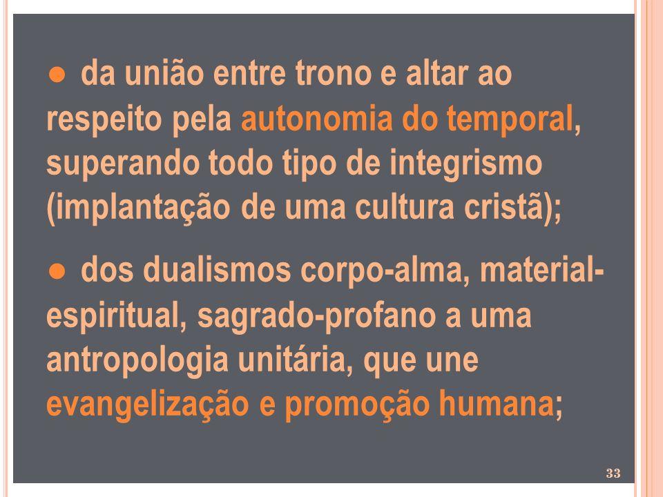● da união entre trono e altar ao respeito pela autonomia do temporal, superando todo tipo de integrismo (implantação de uma cultura cristã);