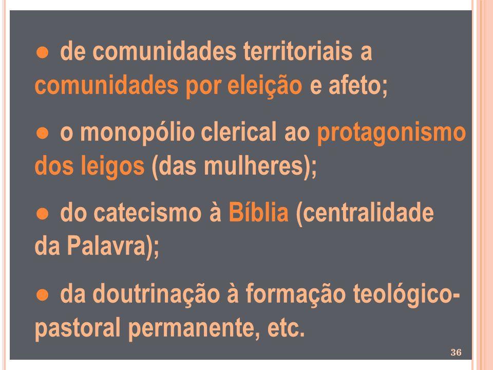 ● de comunidades territoriais a comunidades por eleição e afeto; ● o monopólio clerical ao protagonismo dos leigos (das mulheres); ● do catecismo à Bíblia (centralidade da Palavra); ● da doutrinação à formação teológico- pastoral permanente, etc.