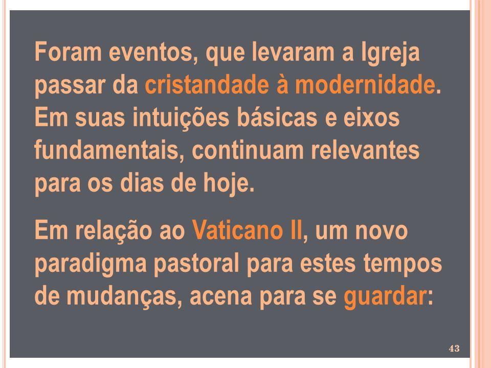 Foram eventos, que levaram a Igreja passar da cristandade à modernidade.