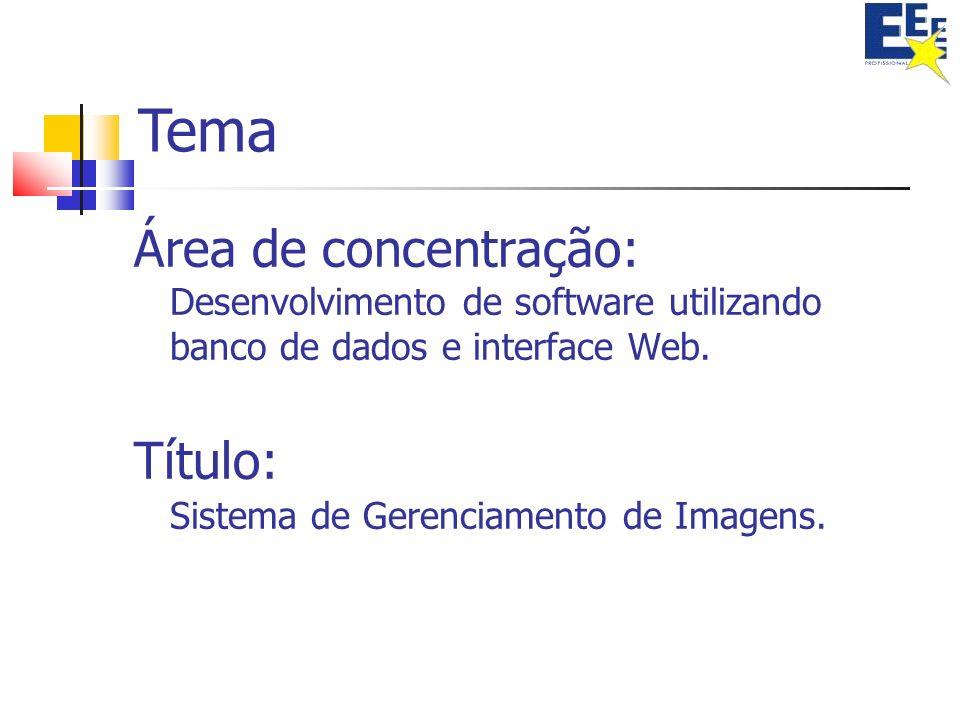 Tema Área de concentração: Desenvolvimento de software utilizando banco de dados e interface Web. Título: