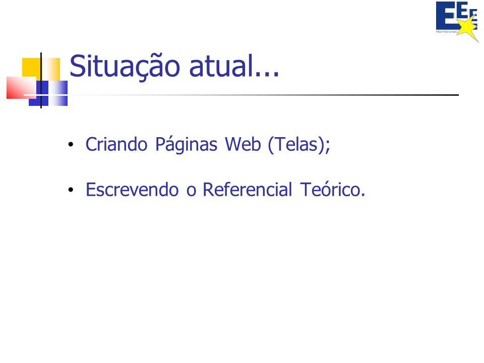 Situação atual... Criando Páginas Web (Telas);