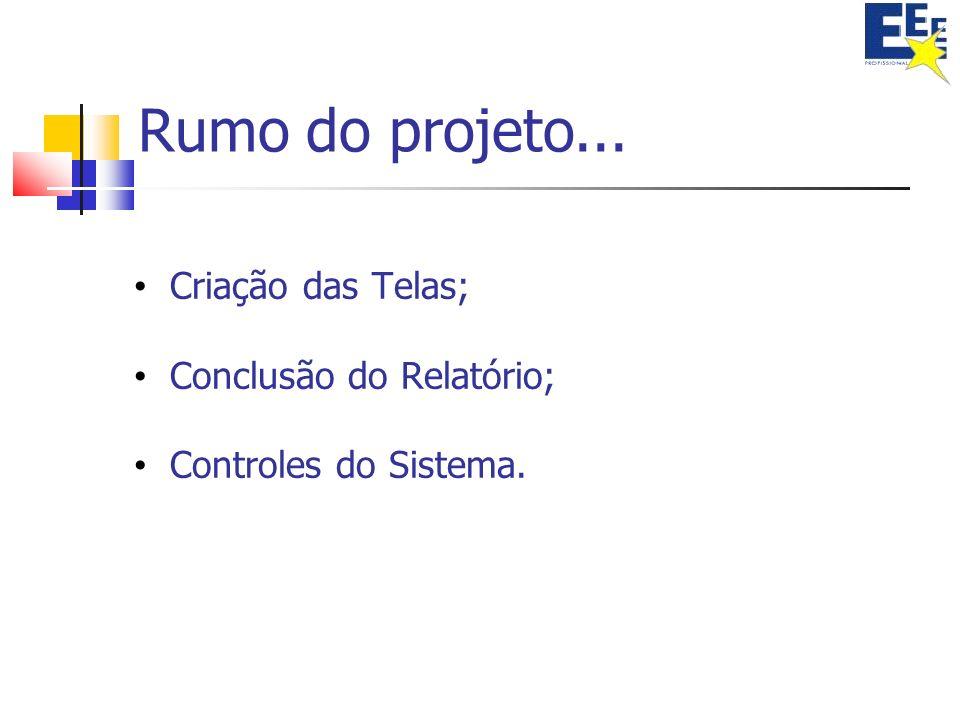 Rumo do projeto... Criação das Telas; Conclusão do Relatório;