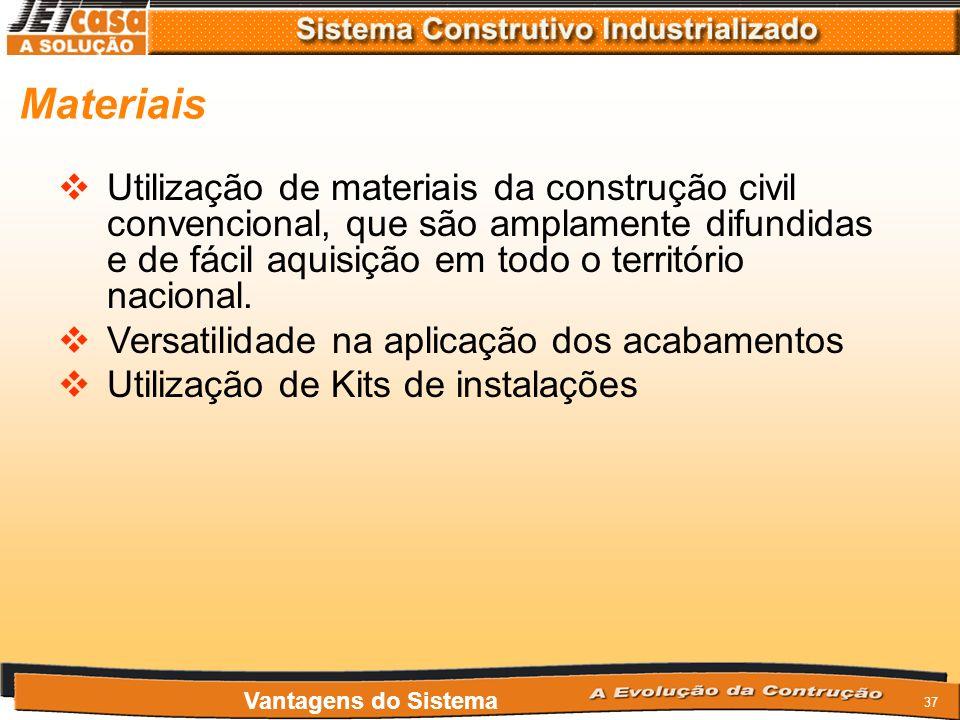 Materiais Utilização de materiais da construção civil convencional, que são amplamente difundidas e de fácil aquisição em todo o território nacional.