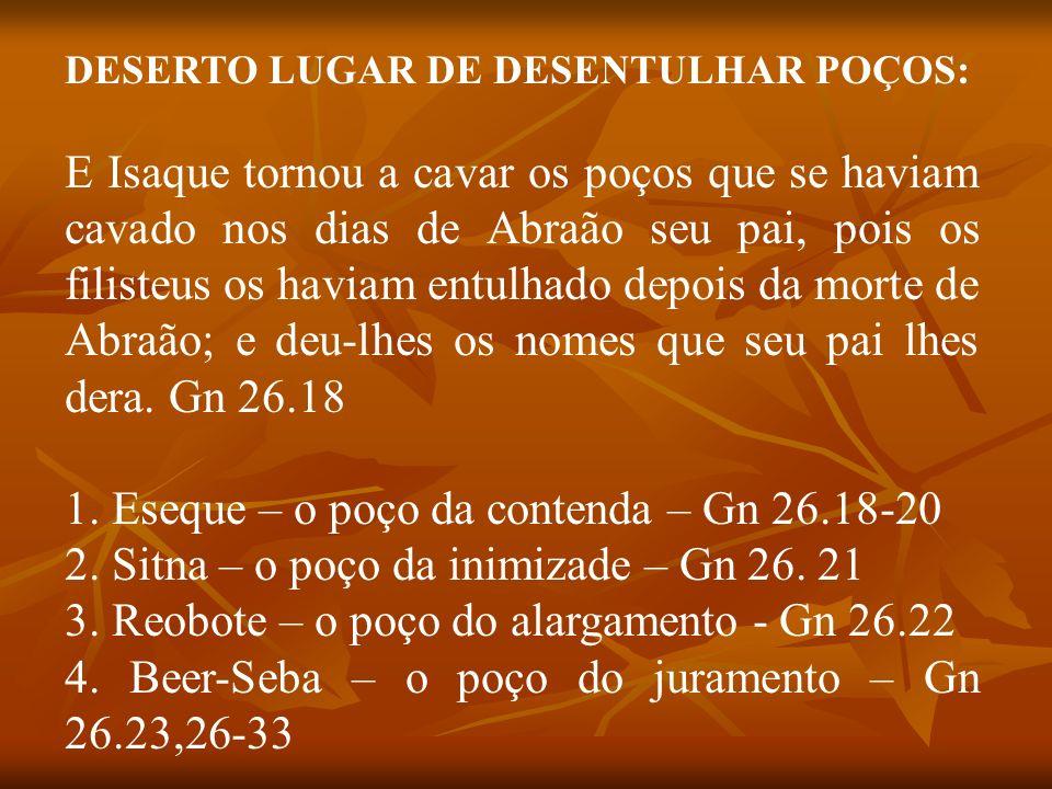 1. Eseque – o poço da contenda – Gn 26.18-20