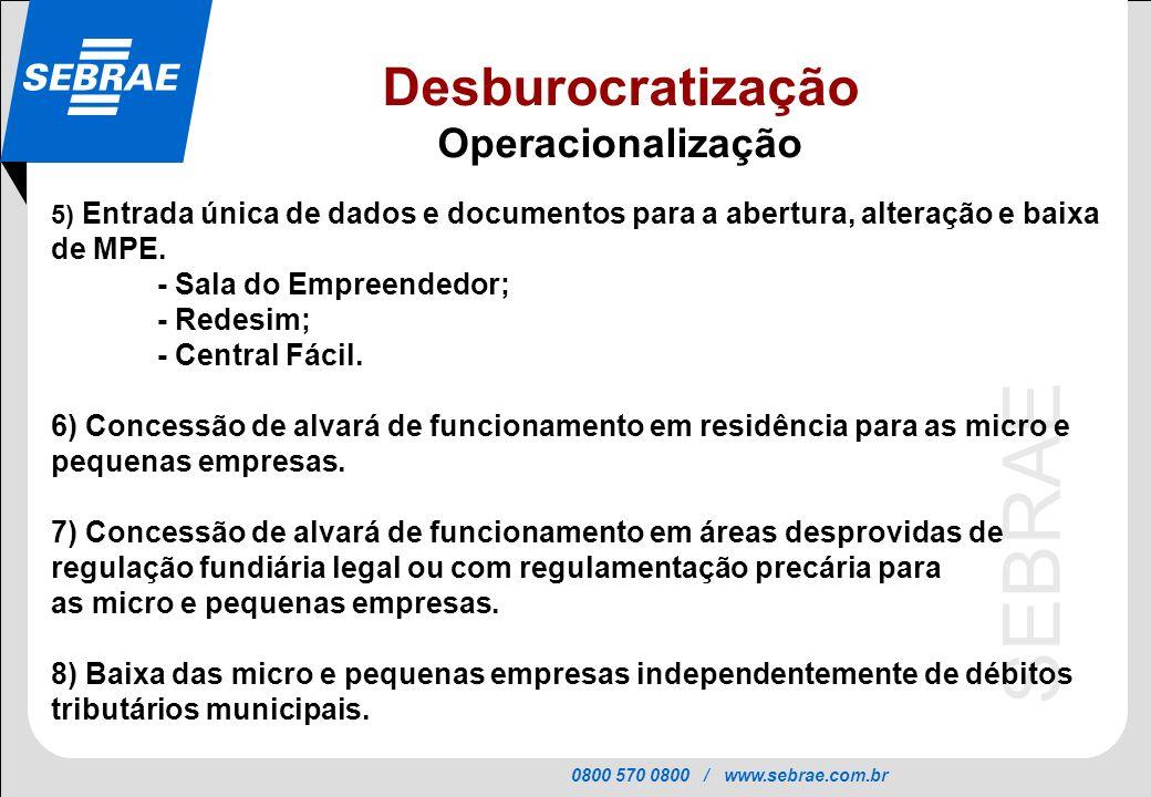 Desburocratização Operacionalização - Sala do Empreendedor; - Redesim;