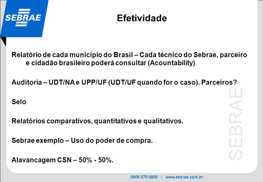 Efetividade Relatório de cada município do Brasil – Cada técnico do Sebrae, parceiro e cidadão brasileiro poderá consultar (Acountability)