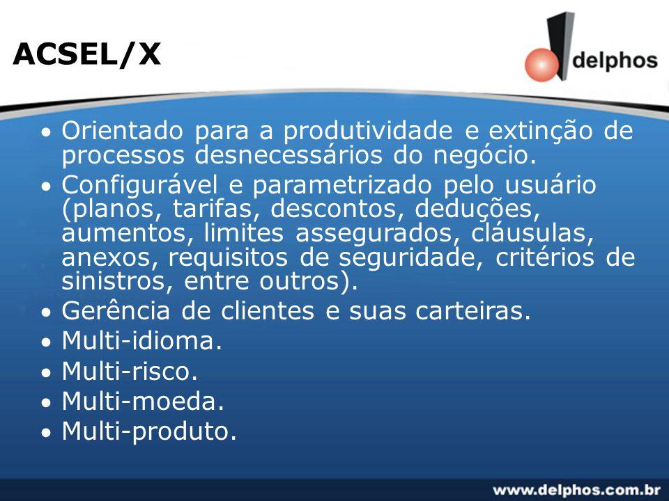 ACSEL/X Orientado para a produtividade e extinção de processos desnecessários do negócio.