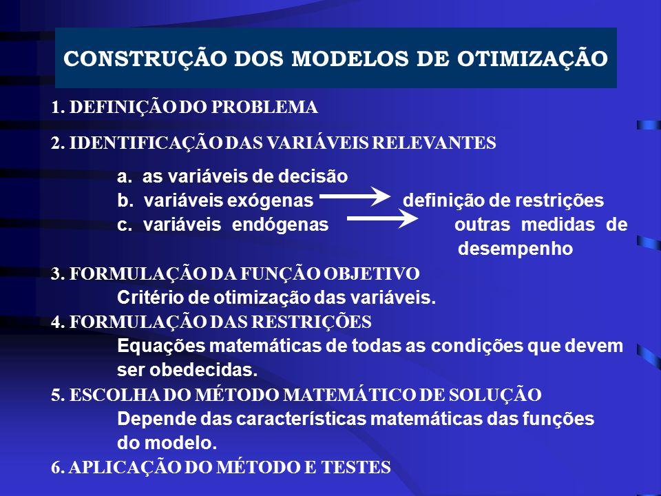 CONSTRUÇÃO DOS MODELOS DE OTIMIZAÇÃO