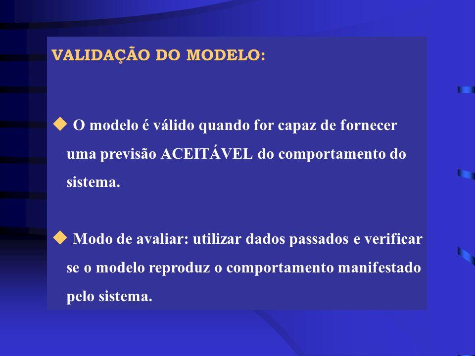 VALIDAÇÃO DO MODELO: O modelo é válido quando for capaz de fornecer uma previsão ACEITÁVEL do comportamento do sistema.