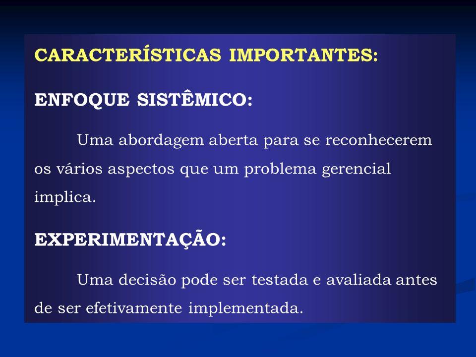 CARACTERÍSTICAS IMPORTANTES: ENFOQUE SISTÊMICO: