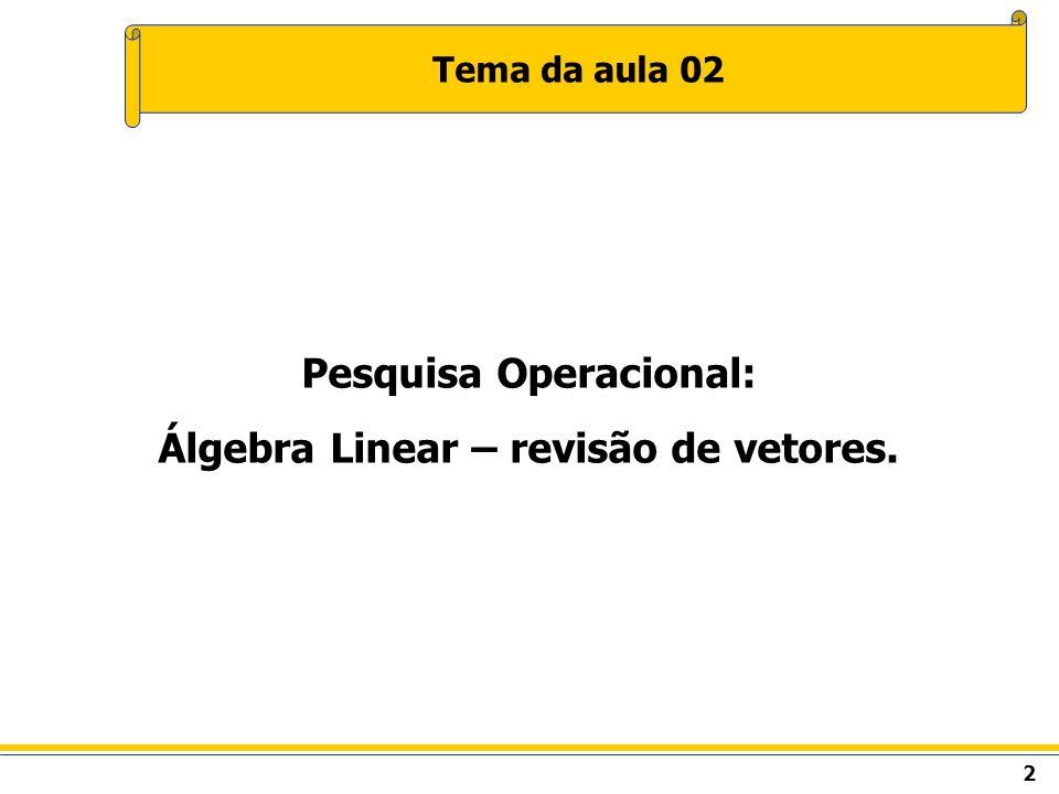 Pesquisa Operacional: Álgebra Linear – revisão de vetores.