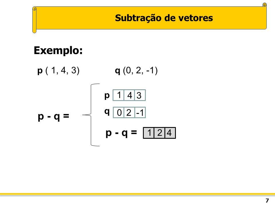 Exemplo: p - q = p - q = Subtração de vetores