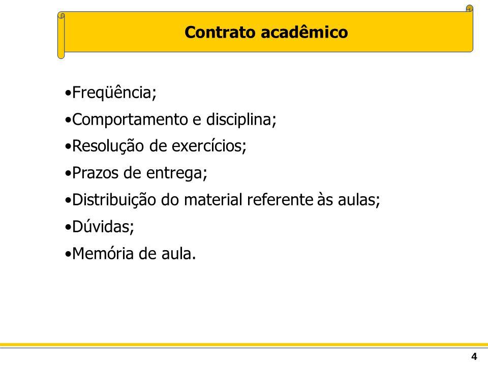 Contrato acadêmico Freqüência; Comportamento e disciplina; Resolução de exercícios; Prazos de entrega;