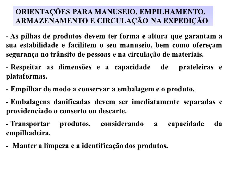 ORIENTAÇÕES PARA MANUSEIO, EMPILHAMENTO,