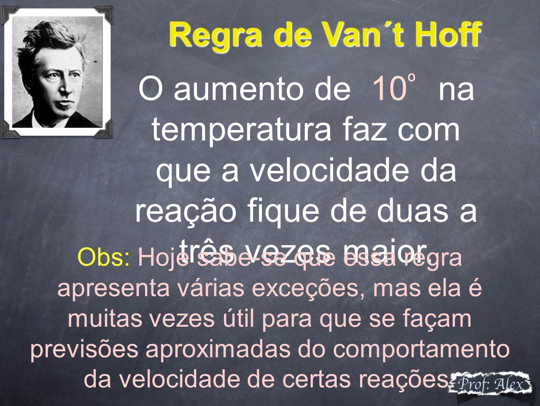Regra de Van´t Hoff O aumento de 10º na temperatura faz com que a velocidade da reação fique de duas a três vezes maior.