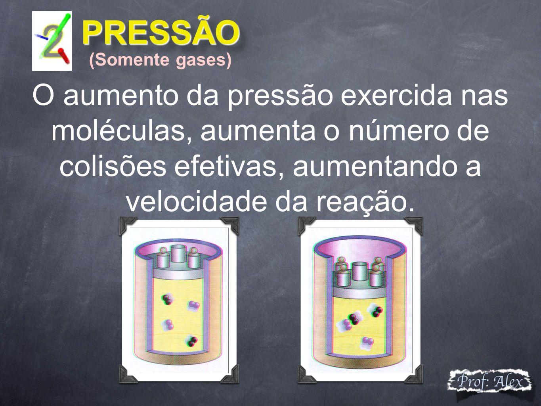 PRESSÃO (Somente gases) O aumento da pressão exercida nas moléculas, aumenta o número de colisões efetivas, aumentando a velocidade da reação.