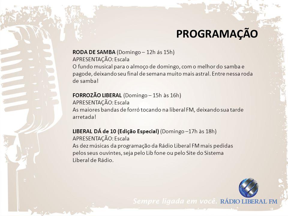 PROGRAMAÇÃO RODA DE SAMBA (Domingo – 12h ás 15h) APRESENTAÇÃO: Escala