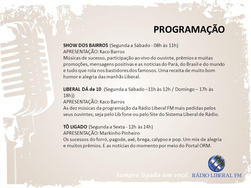 PROGRAMAÇÃO SHOW DOS BAIRROS (Segunda a Sábado - 08h às 11h)