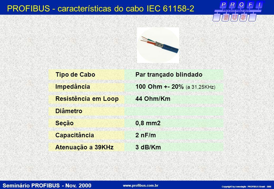 PROFIBUS - características do cabo IEC 61158-2