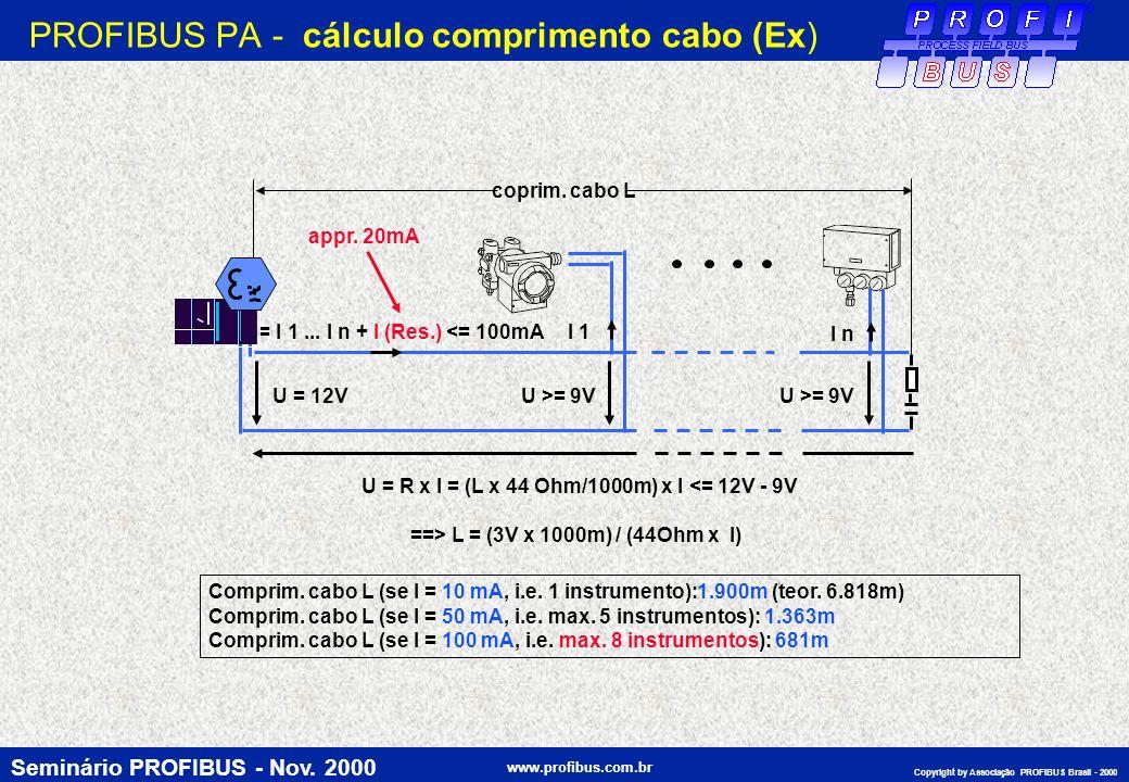 PROFIBUS PA - cálculo comprimento cabo (Ex)