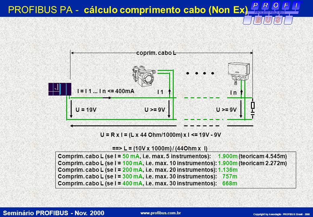 PROFIBUS PA - cálculo comprimento cabo (Non Ex)