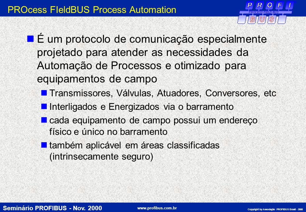 PROcess FIeldBUS Process Automation