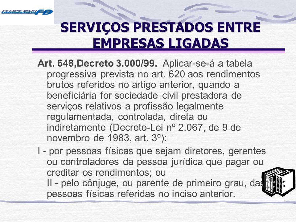 SERVIÇOS PRESTADOS ENTRE EMPRESAS LIGADAS