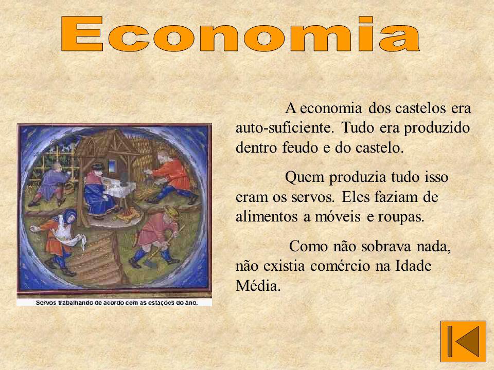 Economia A economia dos castelos era auto-suficiente. Tudo era produzido dentro feudo e do castelo.