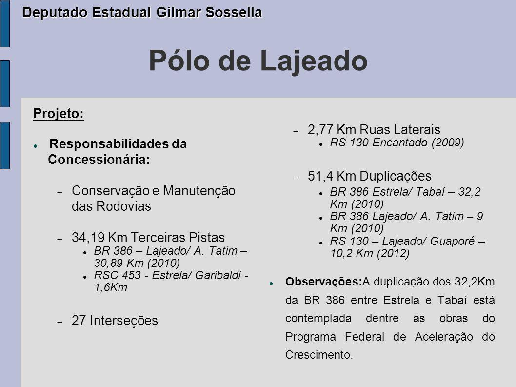Pólo de Lajeado Deputado Estadual Gilmar Sossella Projeto: