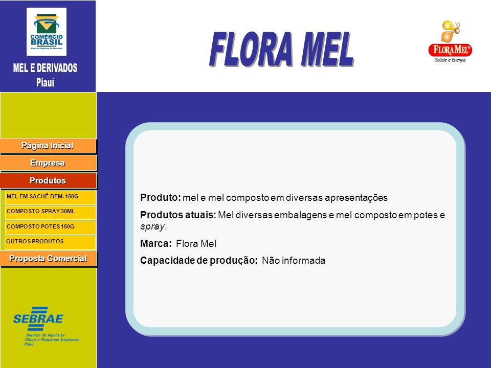 FLORA MEL Produto: mel e mel composto em diversas apresentações