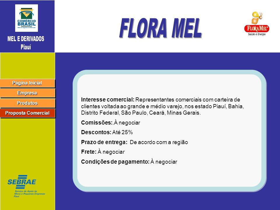 MEL E DERIVADOS Piauí. FLORA MEL.
