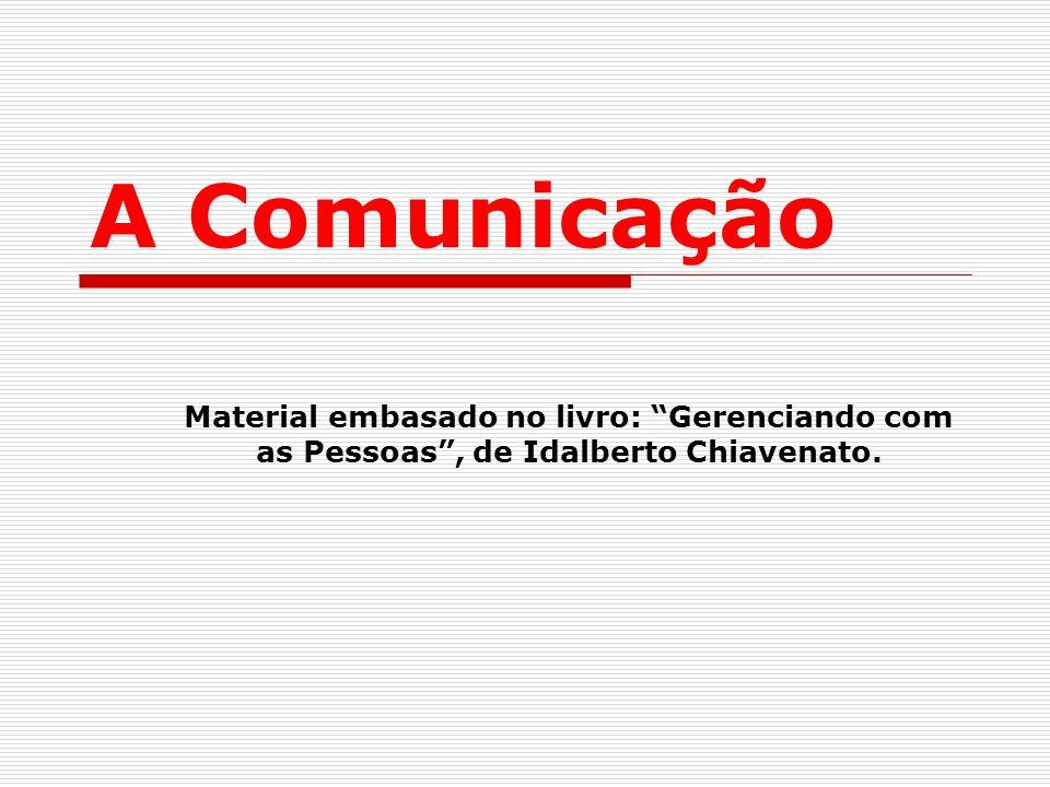 A Comunicação Material embasado no livro: Gerenciando com as Pessoas , de Idalberto Chiavenato.