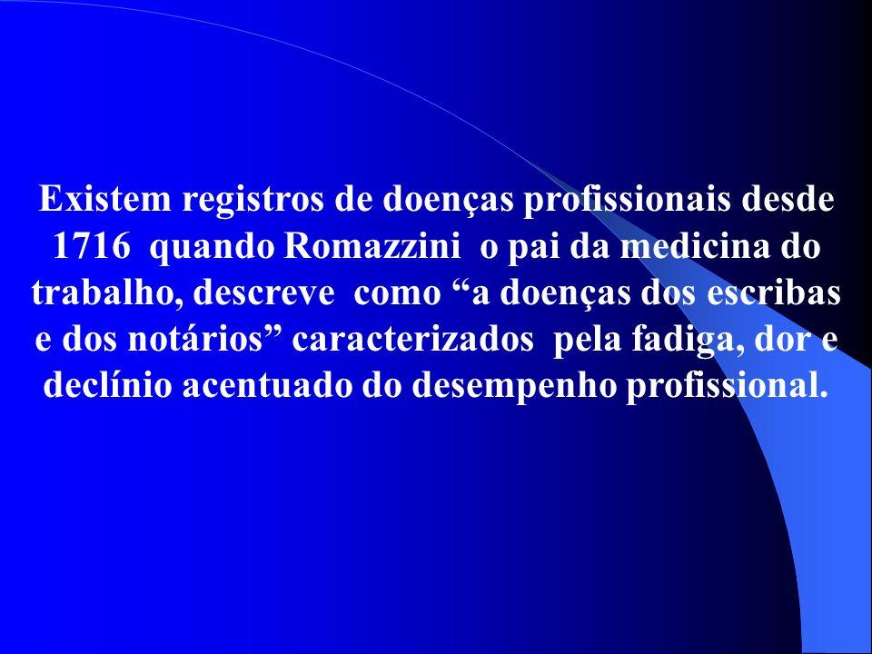Existem registros de doenças profissionais desde 1716 quando Romazzini o pai da medicina do trabalho, descreve como a doenças dos escribas e dos notários caracterizados pela fadiga, dor e declínio acentuado do desempenho profissional.