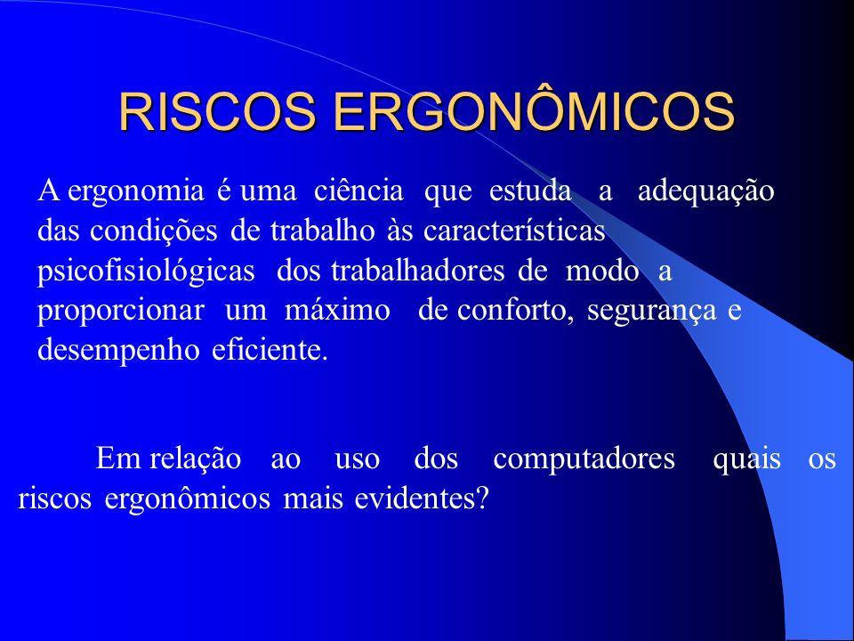 RISCOS ERGONÔMICOS A ergonomia é uma ciência que estuda a adequação
