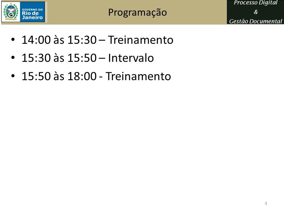 14:00 às 15:30 – Treinamento 15:30 às 15:50 – Intervalo