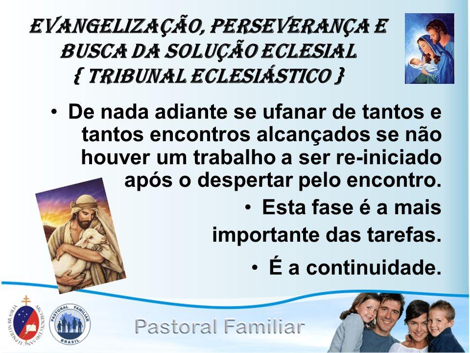Evangelização, Perseverança e Busca da Solução Eclesial { Tribunal Eclesiástico }