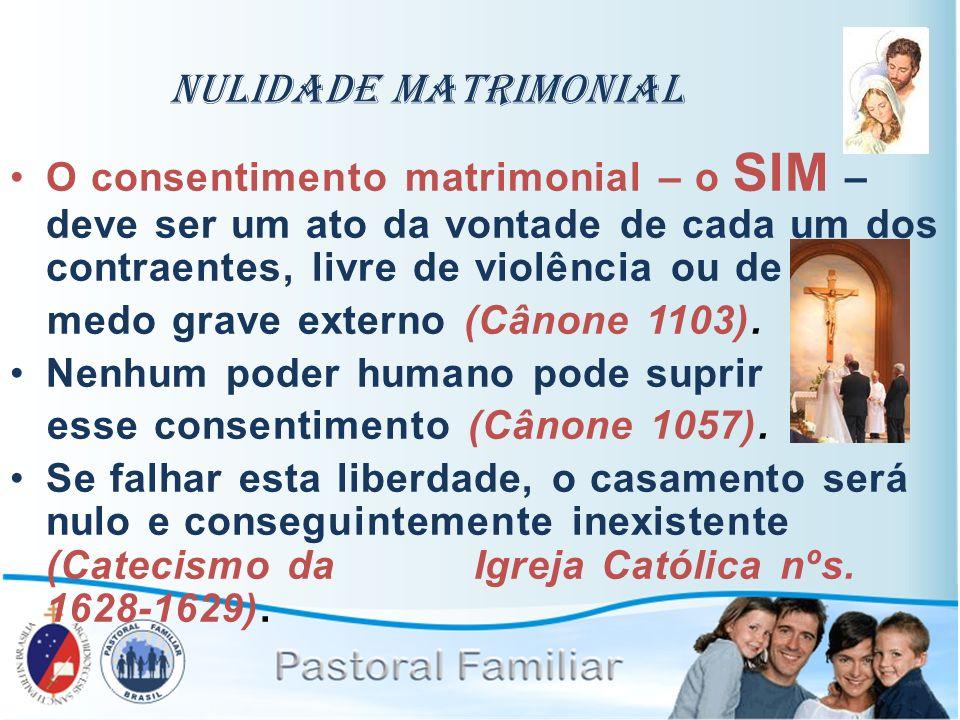 Nulidade Matrimonial O consentimento matrimonial – o SIM – deve ser um ato da vontade de cada um dos contraentes, livre de violência ou de.