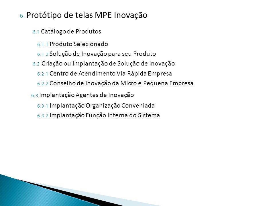 6.1 Catálogo de Produtos 6.3 Implantação Agentes de Inovação