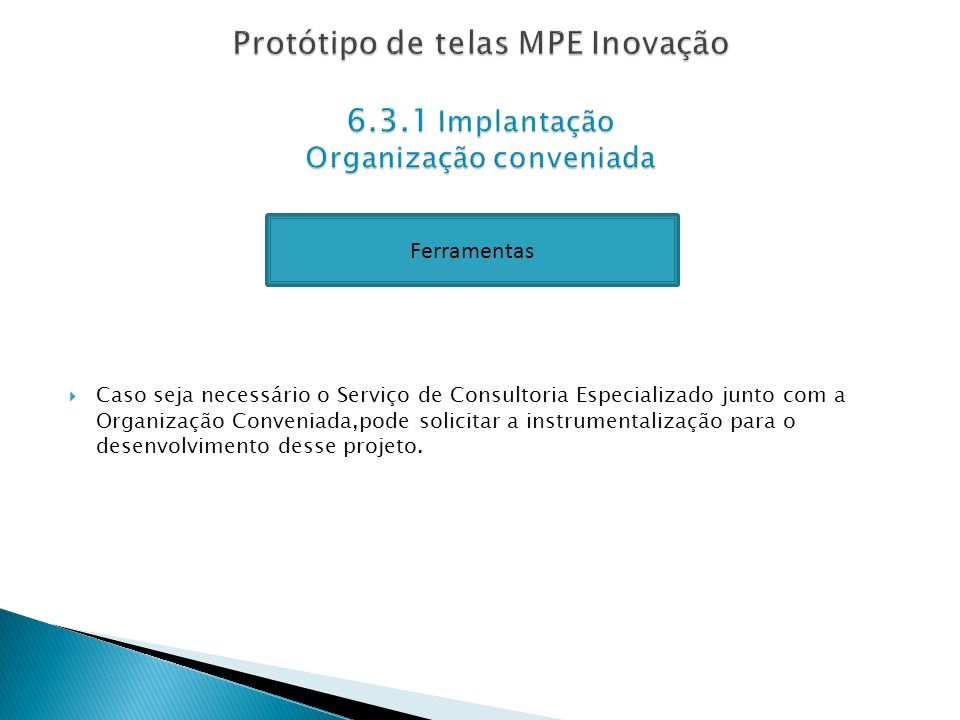 Protótipo de telas MPE Inovação 6. 3