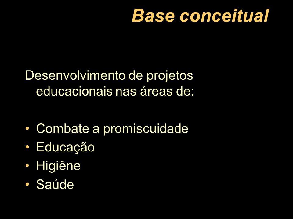 Base conceitual Desenvolvimento de projetos educacionais nas áreas de:
