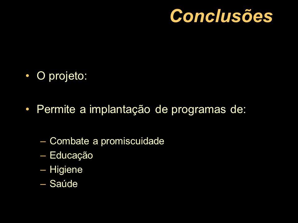 Conclusões O projeto: Permite a implantação de programas de:
