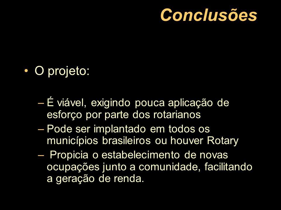 Conclusões O projeto: É viável, exigindo pouca aplicação de esforço por parte dos rotarianos.