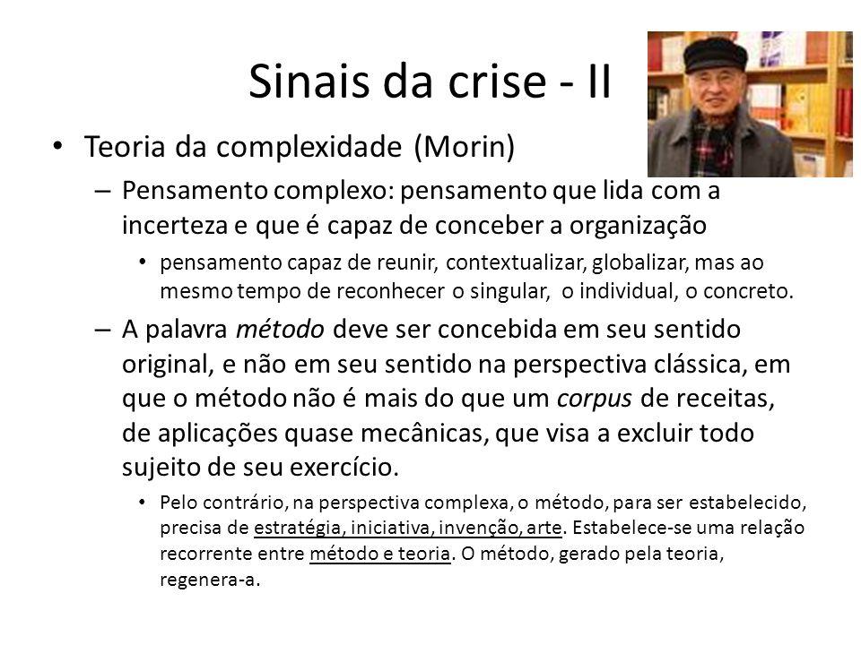 Sinais da crise - II Teoria da complexidade (Morin)