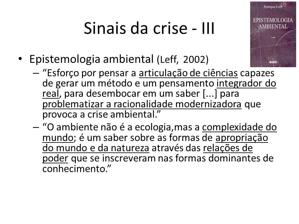 Sinais da crise - III Epistemologia ambiental (Leff, 2002)