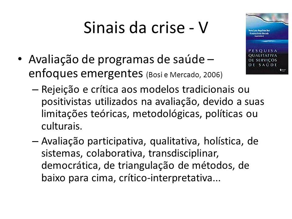 Sinais da crise - V Avaliação de programas de saúde – enfoques emergentes (Bosi e Mercado, 2006)