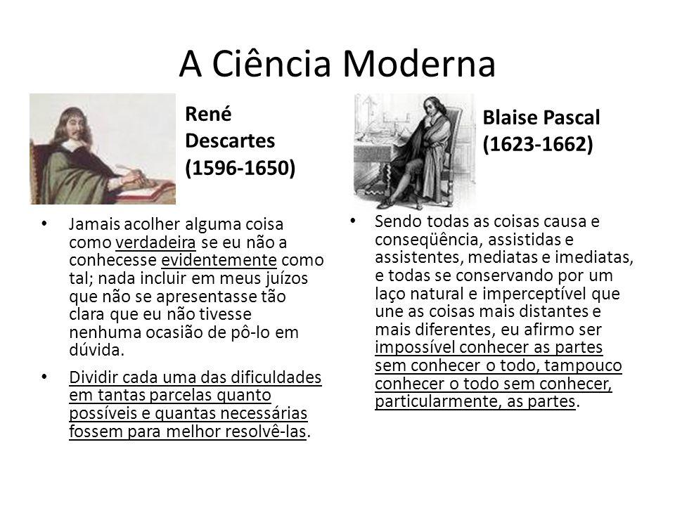 A Ciência Moderna Blaise Pascal (1623-1662) René Descartes (1596-1650)
