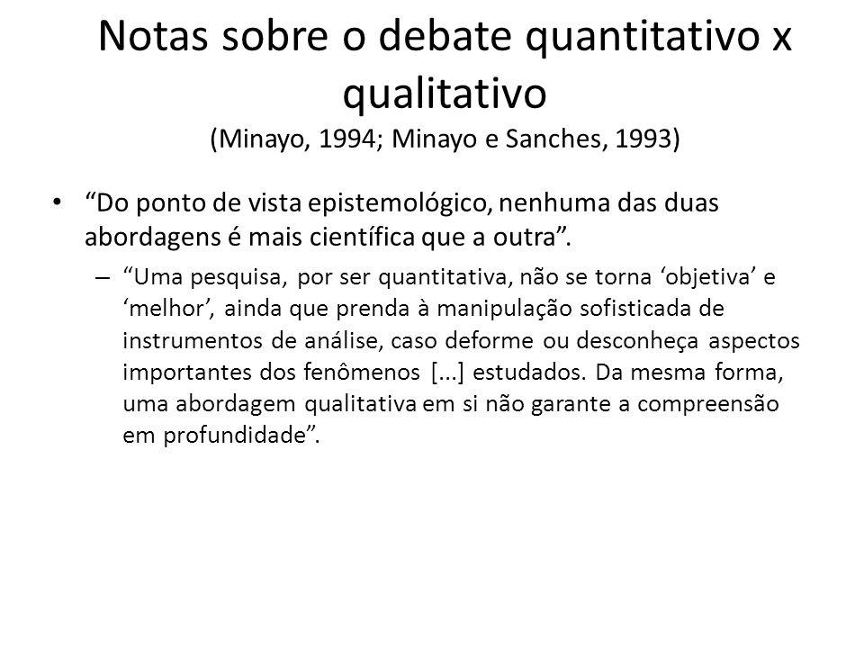 Notas sobre o debate quantitativo x qualitativo (Minayo, 1994; Minayo e Sanches, 1993)